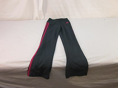 Girls Adidas Leggings Size Small (7/8) Charcoal and Pink 84% Poly 16% Span 12995