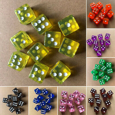 10pcs Set 16mm Six Sided D6 RPG Transparent Straight Corner Dice Party Play Game
