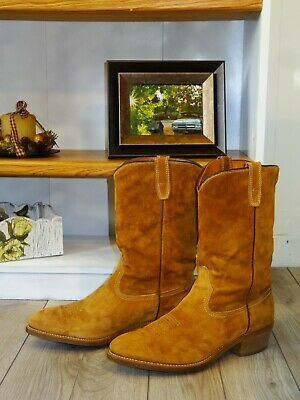 c28a5b3d24f VTG 1978 SUEDE Leather MOTORCYCLE BOOTS Vibram Sole WESTERN COWBOY BOOTS 12  MENS
