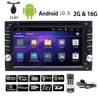 Double 2 DIN Android Car Radio Stereo Bluetooth GPS Navigator DVD CD player+cam