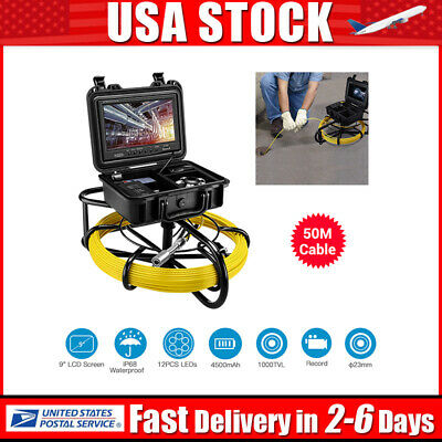 9Inch 164ft Drain Endoscope System φ23mm Industrial Sewer Camera Video DVR 8GB