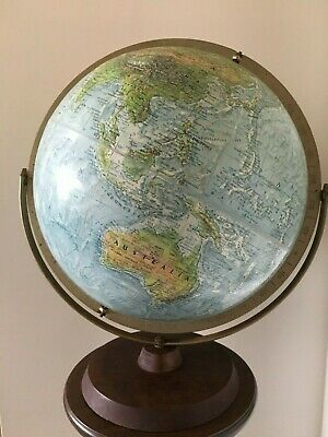 Vintage World Globe Replogle USA Dual Axis With Topography