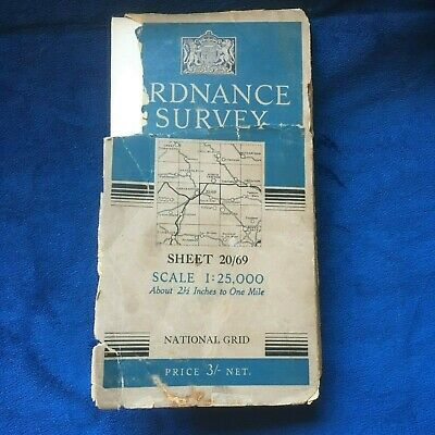 OS Ordnance Survey 1:25000 Provisional Map Linen Backed Sheet 20/69 South Zeal