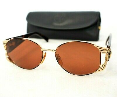 1a7f6c548224 Gianni Versace S64 sunglasses vintage gold brown oval medusa head unisex  large