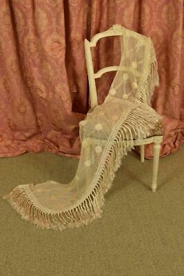 Sublime Antique French Embroidered Lace Pelmet / Shawl, Silk Tassels, 19thC