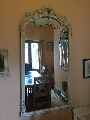Antique / Vintage White Cream Ivory Ornate French Shabby Chic Large Wall Mirror