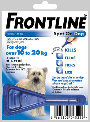 Frontline Spot On Flea Medium Dogs 10kg-20kg 1 Pipette & Fast 1st Same Day Post,