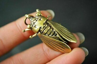 2PCS Collection Chinese Brass Copper *Cicada* Lucky Pendant