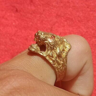 Rare Ancient Solid Ring lion  Roman BRONZE Stunning Artifact Original Authentic