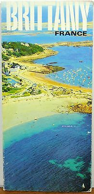 1964 Brittany France vintage French travel brochure & map b