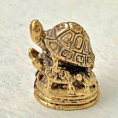 5 Turtle Tortoise Feng Shui Longevity Good Health Charm Brass Figurine Statue