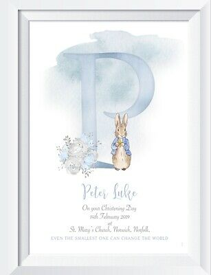 Personalised Peter Rabbit blue christening print picture nursery walldecor gift
