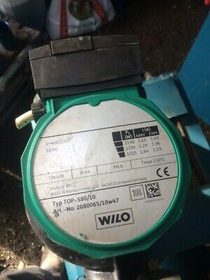 wilo 80s-10 pump. Condition is Used. Wilo 80s/10 3 phase pump for large heatin