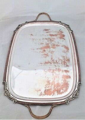 Antique Silver Plate on Copper Footed Butler's Tray 26 inches Victorian c 1870