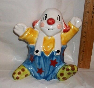 "VTG 6.5"" Circus Clown Porcelain Coin Money Bank Plastic Stopper Marked Italy"