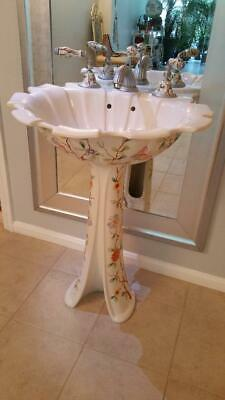 Sherle Wagner vintage Italian tulip basin inc. faucets, fixtures and pedestal
