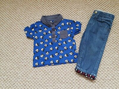 Boys Smart Outfit JOHN LEWIS, DISNEY MICKEY MOUSE 6-9 MONTHS