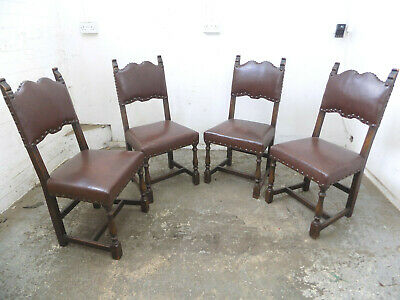 dining chairs,rexine seats,chairs,church,restoration,carved,four,vintage,oak