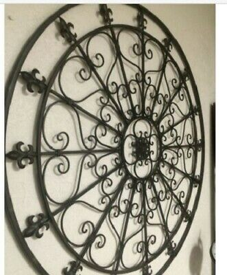 Vintage Large Round Iron Wall Decor Rustic Scroll Fleur De Lis Antique Look NEW