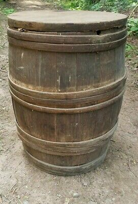 1800's Large Wood Banded Wooden Barrel All Original Farmhouse Antique