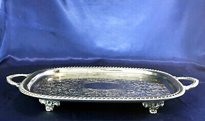 Silverplated Buffet Tray, Vintage Leonard Butler's Serving Tray, Footed