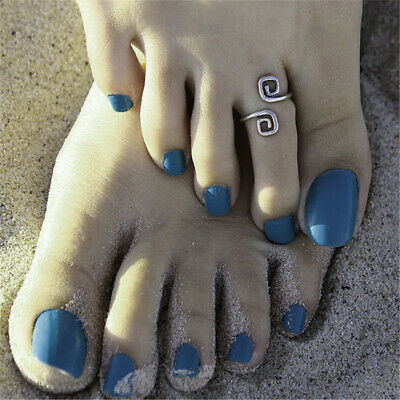 Pair Of / 2pcs Beach Foot Toe Ring Silver Toe Ring Vintage Size Adjustable