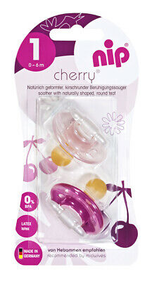 New nip Cherry Latex soother for babies 0-6 months Made in Germany