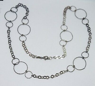 """Vintage QVC Sterling Silver Milor Italy Hammered Large Open Rings Necklace ~ 25"""""""