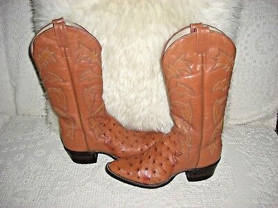 5753ca37808 GORGEOUS OSTRICH FULL Quill Embroidered Western Boots Lucchese?? 7.5 B