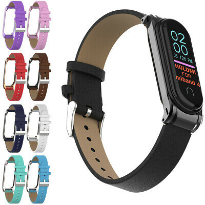 Wristband PU Leather Band Metal Frame Wrist Strap For Xiaomi Mi Band 4 3