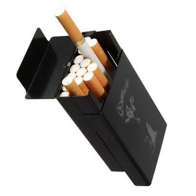 Stainless Steel Cigarette Case Cigar Tobacco Pocket PU Leather Pouch Box YI