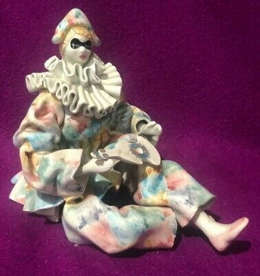 Porcelain Sitting Clown Figurine Playing Guitar Shelf Sitter Italy Signed Vtg