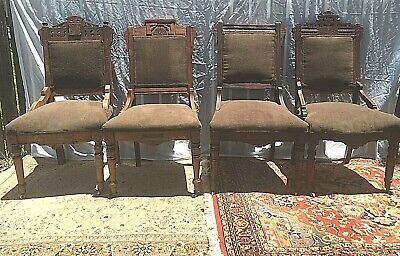 4 Victorian Burl Walnut Wood Carved East Lake Velvet Parlor Side Chairs