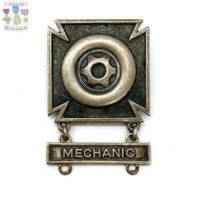 Wwii Us Army Driver & Mechanic Badge Sterling Silver Pin-Back Ww2 Original