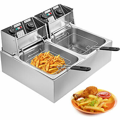 5000W 20L Commercial Electric Deep Fat Chip Fryer Dual Tank Stainless Steel