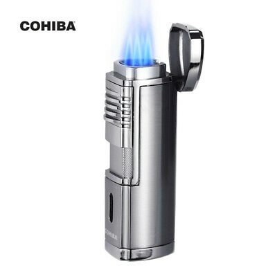 COHIBA Silver 4 Torch Jet Flame Metal Cigar Cigarette Lighter Tobacco Windproof