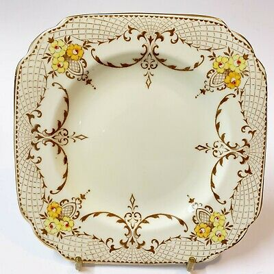 1930's Vintage Plant Tuscan Art Deco Side Plate, Hand Painted English China