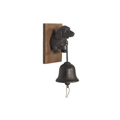 Black Metal Dog Puppy Doorbell With Wooden Base Coat Hat Wall Hanging