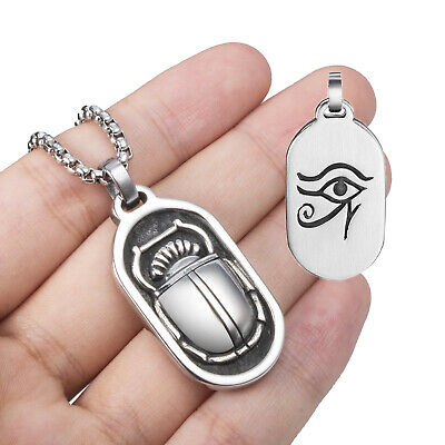 Egyptian Scrab Eye of Horus Solid Stainless Steel Pendant Necklace Chain Set