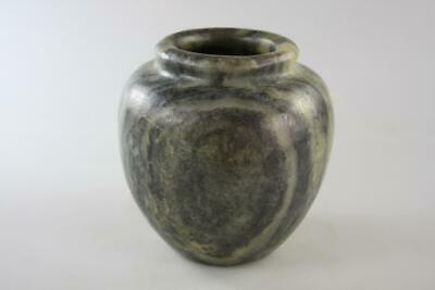 Vintage Chinese Hand Carved Dark Green Jade Vase