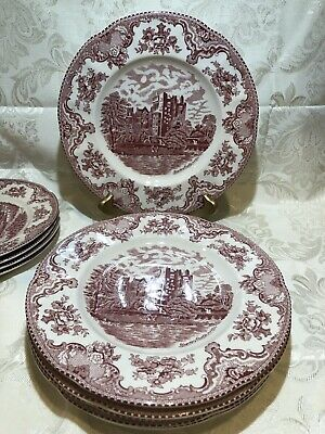 """Set Of 6 Dinner Plates 1883 Johnson Brothers Old Britain Castles Pink 10"""""""