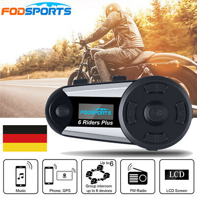 V6 Plus 1200M Motorrad Helm Gegensprechanlage Bluetooth Headset Intercom FM OLED