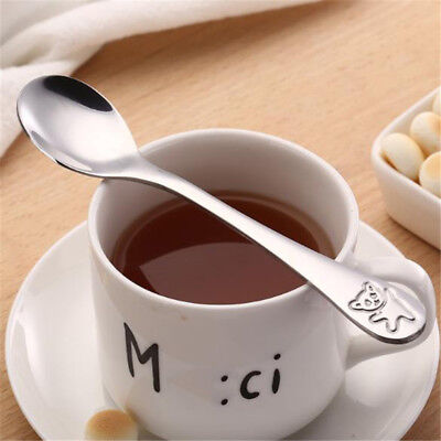 Baby Dishes Stainless Steel Spoon Learning Eating Tableware Fork YI