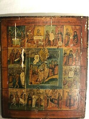 19th CENTURY ANTIQUE RARE RUSSIAN ORTHODOX ICON OF CHRISTS LIFE beginning to end