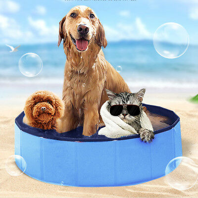 Red/Blue Pet Swimming Pool Bath Cooling Cat Dog Puppy Outdoor Foldable Bathtub