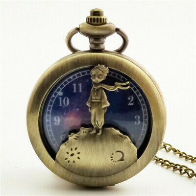 Retro Bronze Silver Little Prince Star Digital Quartz Pocket Watch w/ Chain