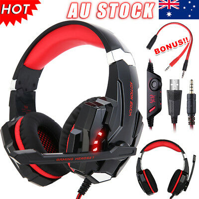 Gaming Headset MIC Red 3.5mmLED Headphones for PC Mac Laptop PS4 Xbox One AU