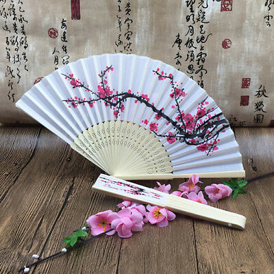 Chinese Style Hand Held Flower Fan Lace Print Folding Wedding Party YI