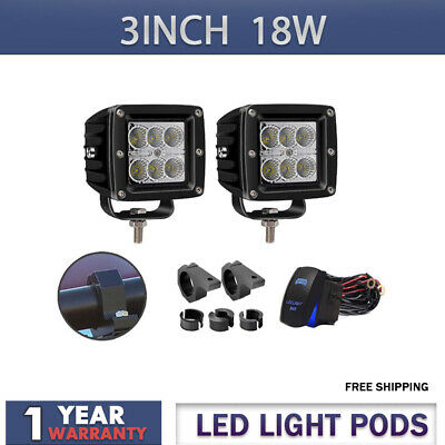 2pcs 3In 18W LED Flood Cube Pods Offroad Work Fog Lights For Ford Polaris GMC