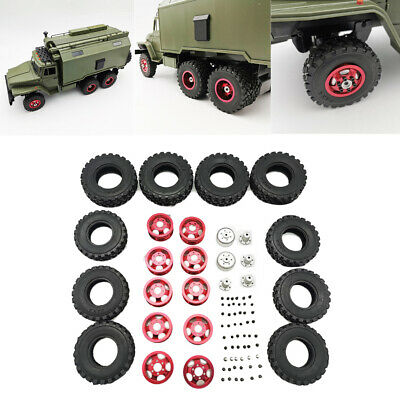 Military Truck Metal Wheel Hub with Rubber Tire Kit For WPL B-16 B36 1/16 RC Car